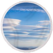 Lenticular Clouds Forming In The Troposphere Round Beach Towel