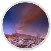 Lenticular Clouds Over Almond Trees Round Beach Towel