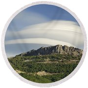 Lenticular Clouds Over Dornajo Mountain Round Beach Towel