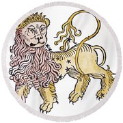 Leo An Illustration From The Poeticon Round Beach Towel