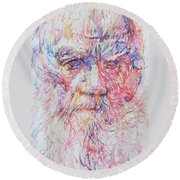 Leo Tolstoy/ Colored Pens Portrait Round Beach Towel