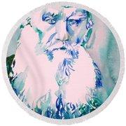 Leo Tolstoy Watercolor Portrait.2 Round Beach Towel