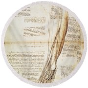 Leonardo: Anatomy, 1510 Round Beach Towel