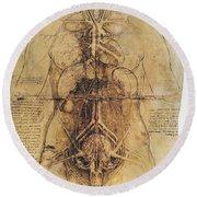 Leonardo: Anatomy, C1510 Round Beach Towel