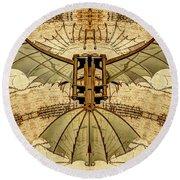 Leonardo Da Vinci Antique Flying Machine Under Parchment Round Beach Towel