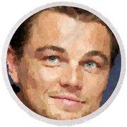 Leonardo Dicaprio Portrait Round Beach Towel