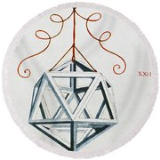 Leonardo Icosahedron Round Beach Towel