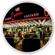 Leon's Frozen Custard Round Beach Towel by Scott Norris