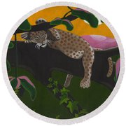 Leopard Cub Round Beach Towel