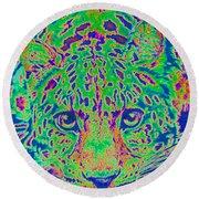 Leopard Eyes Green Round Beach Towel