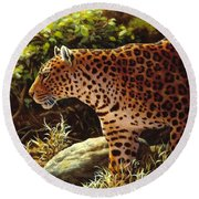Leopard Painting - On The Prowl Round Beach Towel