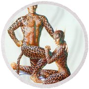 Leopard People Round Beach Towel by Andrew Farley