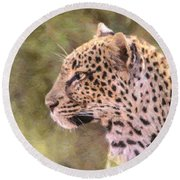 Leopard Portrait Round Beach Towel