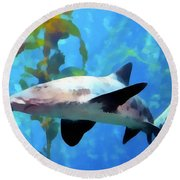 Leopard Shark Watercolor Round Beach Towel