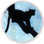 Leopard - Silhouette Round Beach Towel