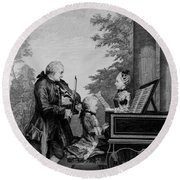 Leopold Mozart And His Two Children Round Beach Towel