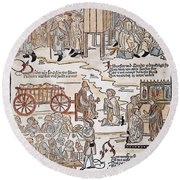 Lepers, 1493 Round Beach Towel