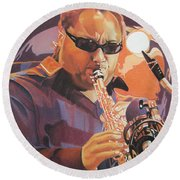 Leroi Moore Purple And Orange Round Beach Towel