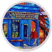 Les Belles Soeurs  Montreal Restaurant Plateau Mont Royal Painting By Carole Spandau Round Beach Towel