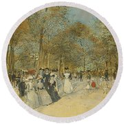 Les Champs-elysees Round Beach Towel