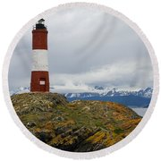 Les Eclaireurs Lighthouse Southern Patagonia Round Beach Towel