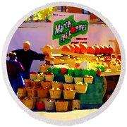 Les Pommes Fruiterie Marcel Vert Pommes Red Apples Jean Talon  Market Scenes Carole Spandau  Round Beach Towel