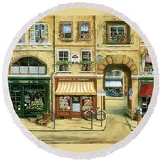 Les Rues De Paris Round Beach Towel