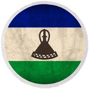 Lesotho Flag Vintage Distressed Finish Round Beach Towel