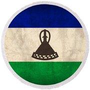 Lesotho Flag Vintage Distressed Finish Round Beach Towel