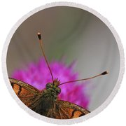 Lesser Spotted Fritillary Round Beach Towel