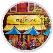 Lester's Deli Montreal Smoked Meat Paris Style French Cafe Paintings Carole Spandau Round Beach Towel