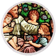 Let The Children Come To Me Round Beach Towel