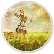 Let Us Dance In The Sun Round Beach Towel