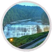 Letchworth Middle Falls Lights Round Beach Towel