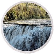 Letchworth State Park Middle Falls In Autumn Round Beach Towel