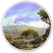 l'Etna  Round Beach Towel by Guido Borelli