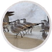 Let's Blow This Joint Round Beach Towel by Betsy Knapp