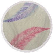 Let's Fly Away Together  Round Beach Towel