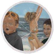 Beach - Children Playing - Kite Round Beach Towel