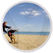 Let's Go Fly A Kite Round Beach Towel