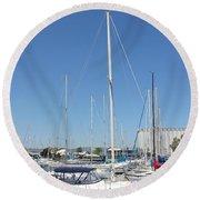 Sailboat Series 02 Round Beach Towel
