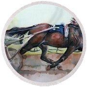 Racehorse Painting In Watercolor Let's Roll Round Beach Towel
