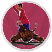 Lets Tango In Red Round Beach Towel