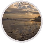 Let's Walk This Evening Round Beach Towel