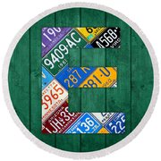 Letter E Alphabet Vintage License Plate Art Round Beach Towel by Design Turnpike