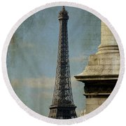 Letter From Paris Round Beach Towel