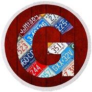 Letter G Alphabet Vintage License Plate Art Round Beach Towel