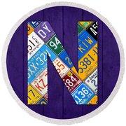 Letter N Alphabet Vintage License Plate Art Round Beach Towel