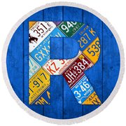 Letter R Alphabet Vintage License Plate Art Round Beach Towel by Design Turnpike
