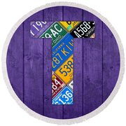 Letter T Alphabet Vintage License Plate Art Round Beach Towel